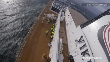 Watch as rescue helicopter airlifts cruise ship passengers