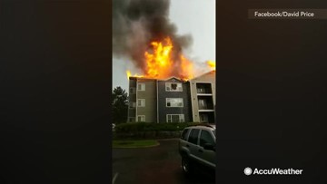 Apartment catches fire after reportedly being struck by lightning
