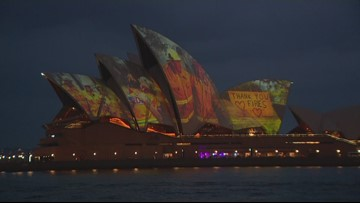 Take a look: Sydney Opera House illuminated to support firefighters