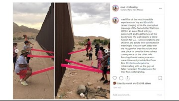 Teeter-totter idea across US-Mexico border allows children to play together