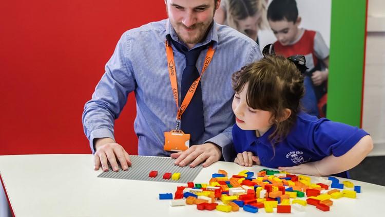 LEGO Braille Bricks on a table