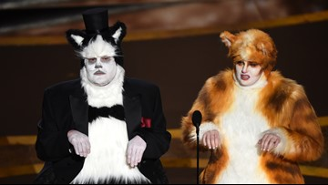 James Corden and Rebel Wilson present Oscars in hilarious 'Cats' costumes