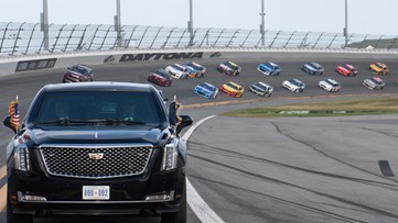 Daytona 500 resumes without president, pomp, packed house