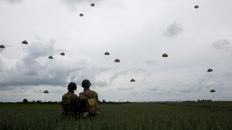 France D-Day Anniversary June 5 2019 AP parachutes fly