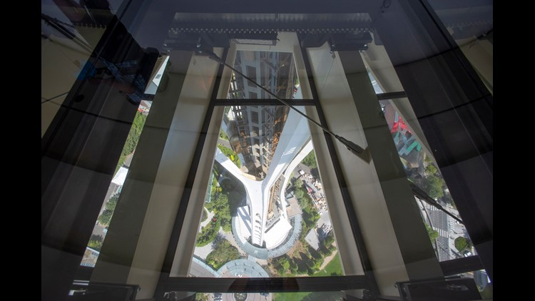 The world's first and only revolving glass floor is now suspended and spinning – slowly – at the 500-foot level of Seattle's iconic Space Needle.
