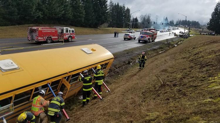 School bus involved in multi-vehicle crash near Sandy