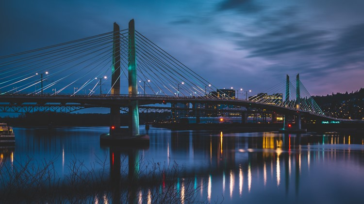 Sky over the Tilikum Crossing Bridge in Portland