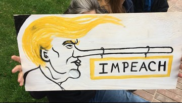 Demonstrators call for Trump impeachment inquiry during Portland rally