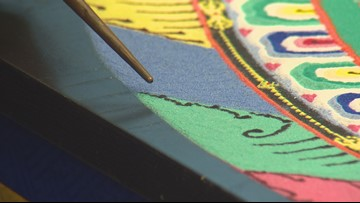 Sand mandala created, then destroyed at Clark College