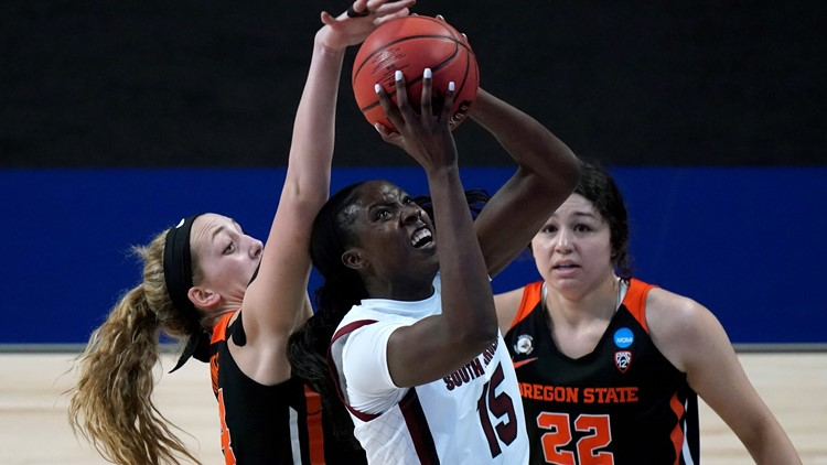 Top-seeded South Carolina defeats Oregon State 59-42 in 2nd round of women's NCAA Tournament