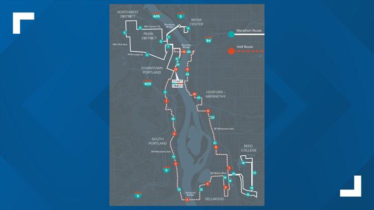 Portland Marathon course map
