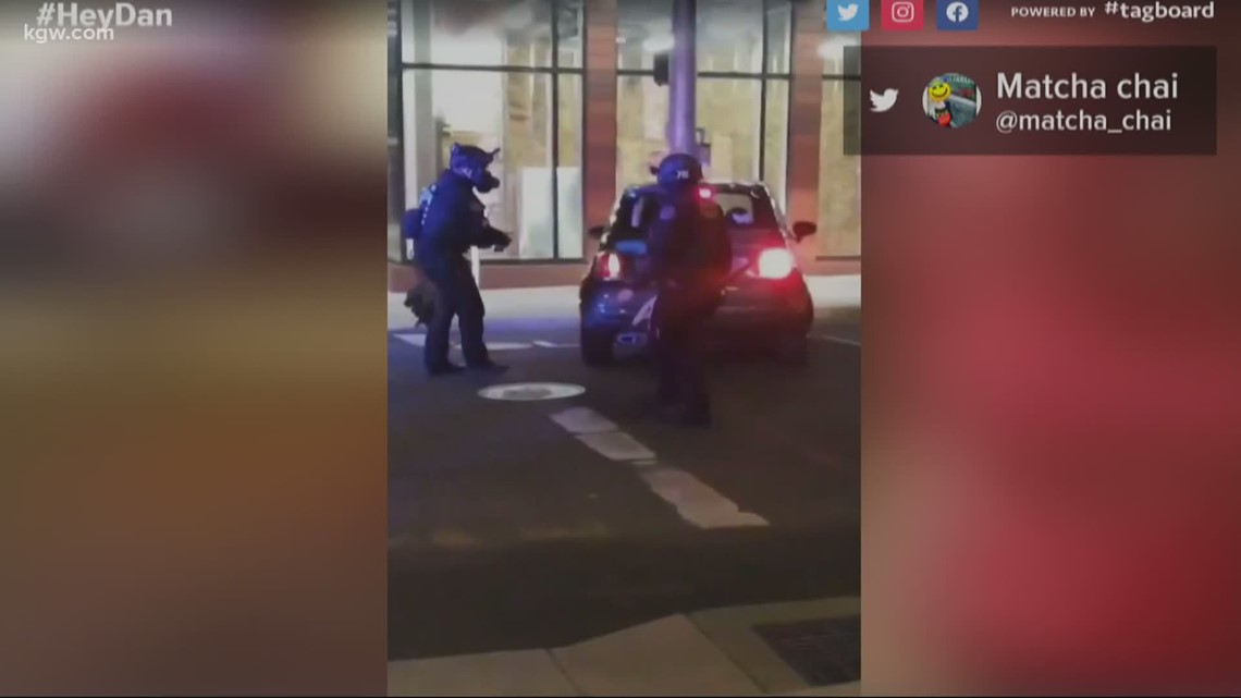Is it legal for Portland police to mark protesters' cars with spray paint?