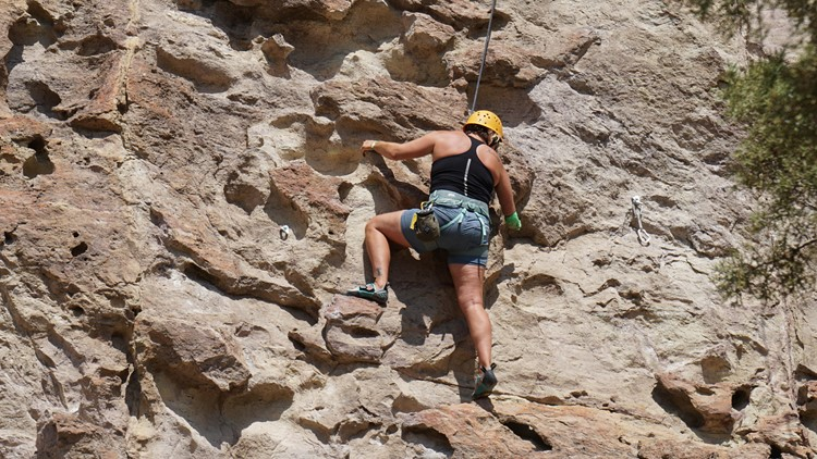 A climber scales the rocks at Smith Rock near Bend