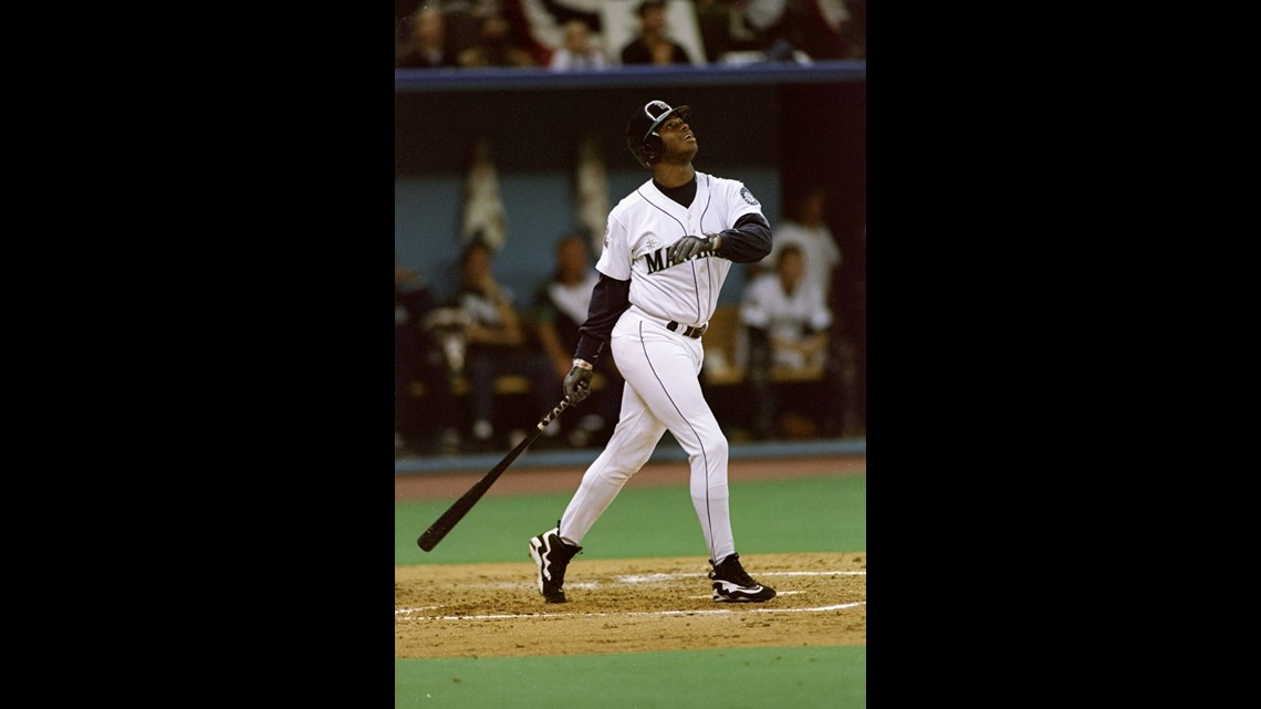 d745182201 6 Oct 1995: Outfielder Ken Griffey Jr. of the Seattle Mariners stands at  the plate looking up during a game against the New York Yankees at the  Kingdome in ...