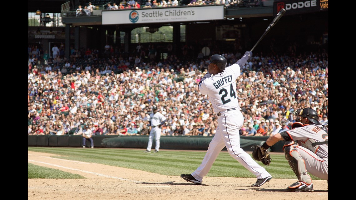 9170b6d49f SEATTLE - MAY 24: Ken Griffey Jr #24 of the Seattle Mariners swings at the  pitch during the game against the San Francisco Giants on May 24, 2009 at  Safeco ...