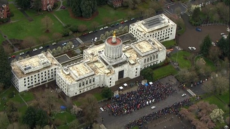 March for Our Lives demonstrators outside the Capitol in Salem, Oregon