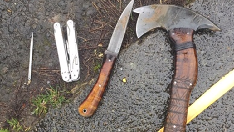 Weapons police seized from man who stabbed Portland police officer