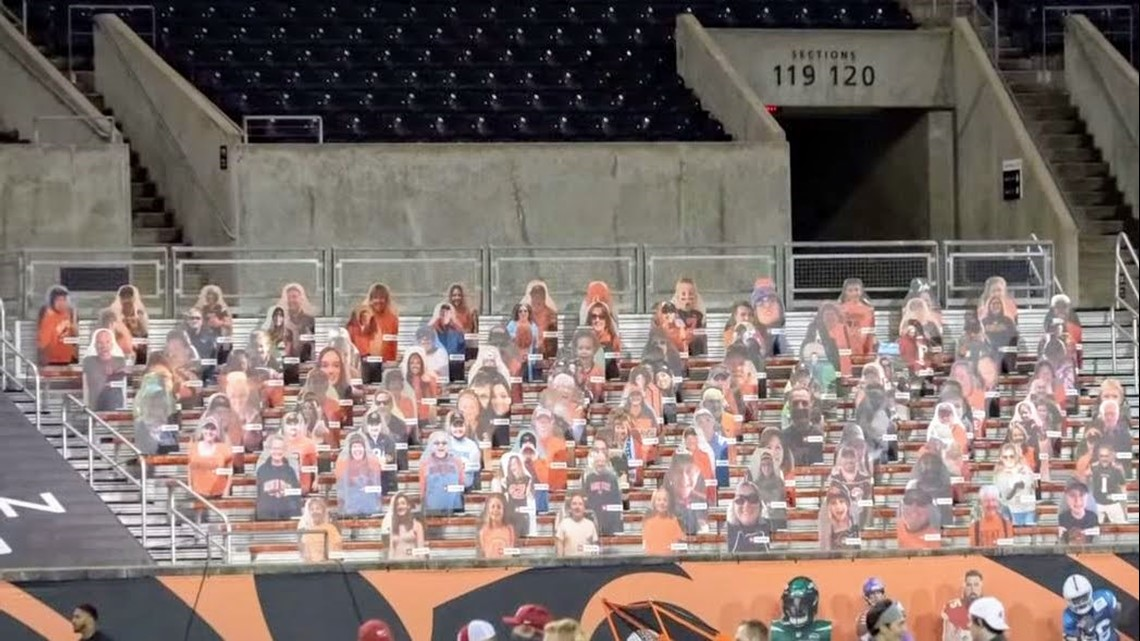 Ducks, Beavers fans stay in the game with cardboard cutouts