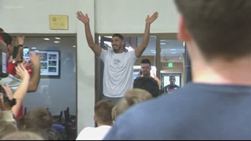 Hundreds of kids learn basketball skills as Enes Kanter kicks off summer camps