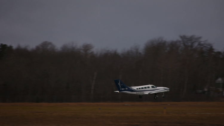 Mr. Coles lifts off for Boston in a Cape Air plane.