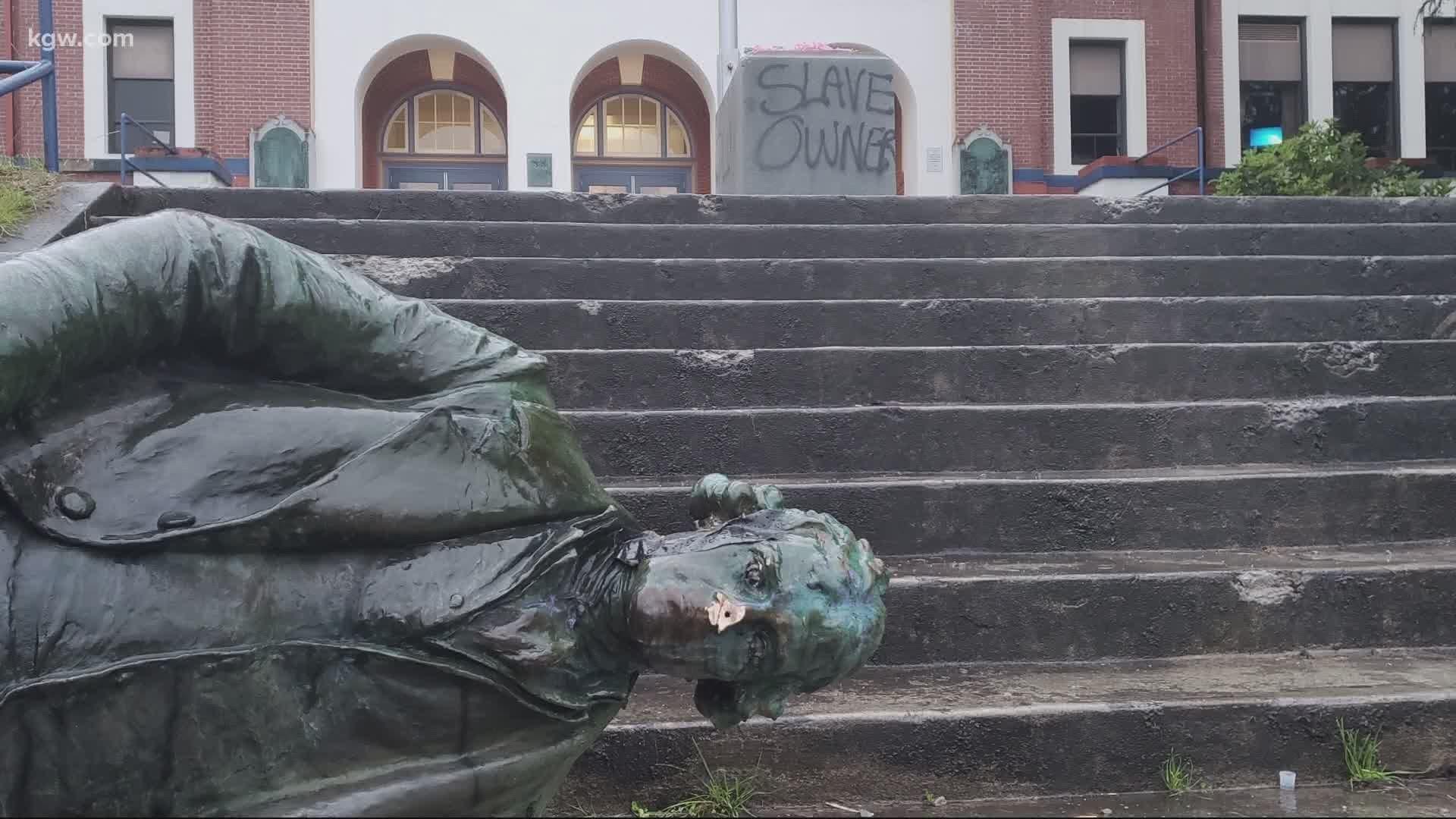 Demonstrators Tear Down Statues Of Racial Suppressors In Oregon Kgw Com