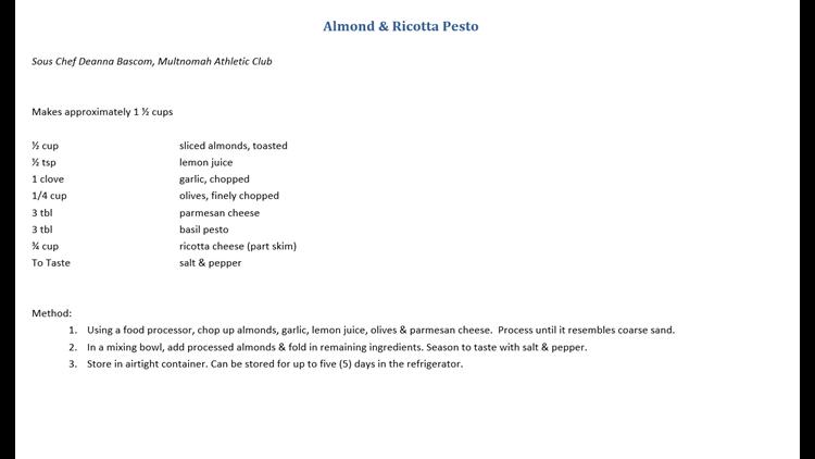 Almond & Ricotta Pesto recipe