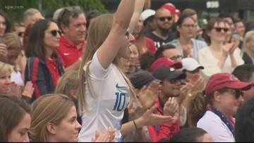 Fans celebrate U.S. women's World Cup win in Portland