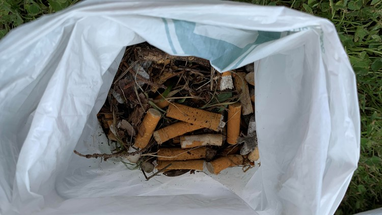 Some of the trash that was picked up, including discarded cigarette butts