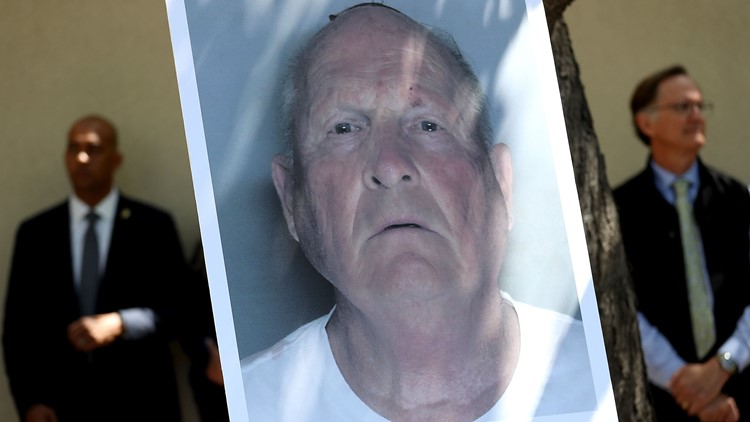 SACRAMENTO, CA - APRIL 25: A photo of accused rapist and killer Joseph James DeAngelo is displayed during a news conference on April 25, 2018 in Sacramento, California.
