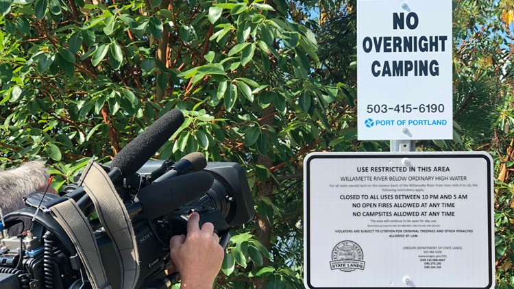 """No overnight camping"" signs posted at Lindbergh's Beach."