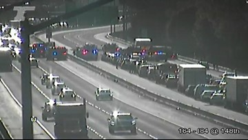 4 seriously injured in crash that closed westbound I-84