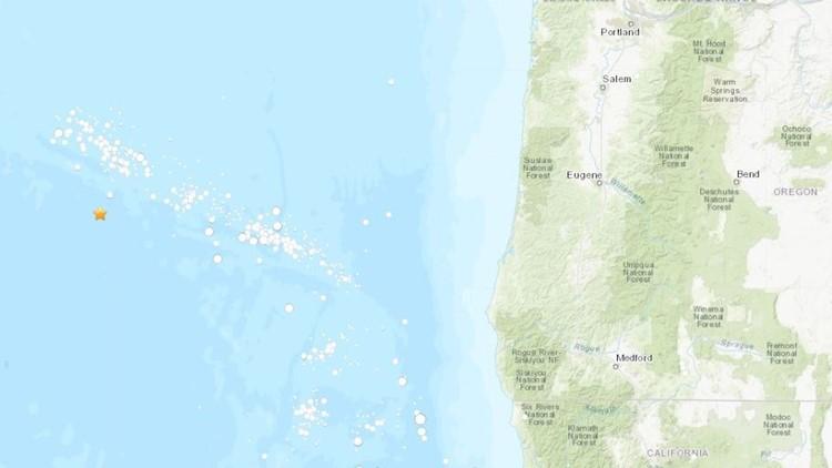 Map of earthquake off Oregon Coast on Aug. 9, 2019