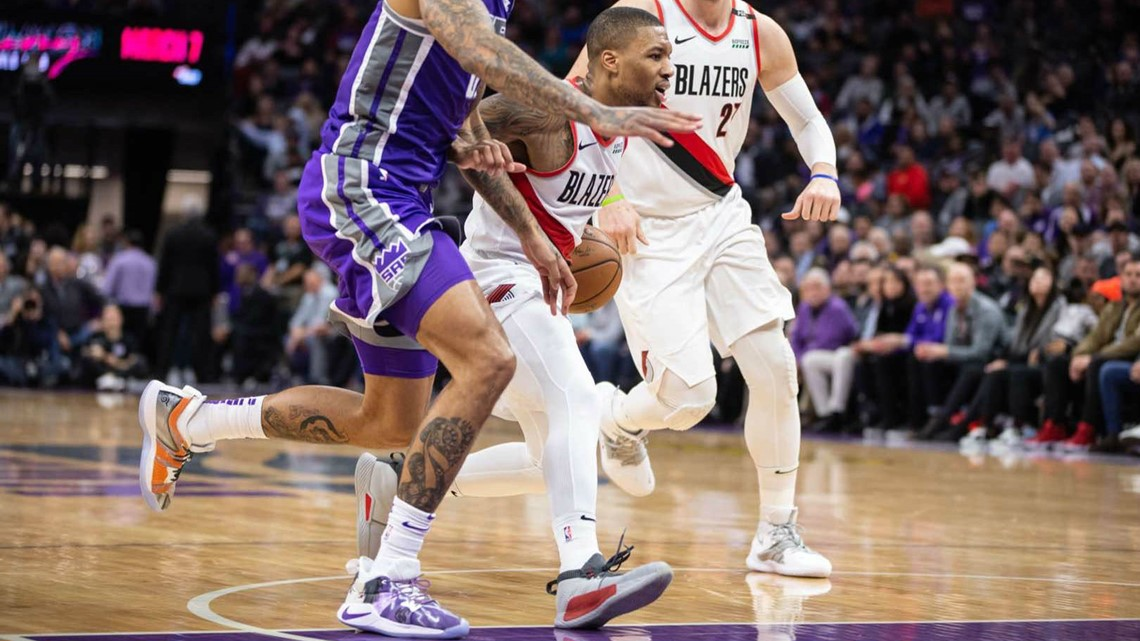 new product 687b6 b5ebd Damian Lillard wearing the Dame 5, his new signature shoe from adidas.