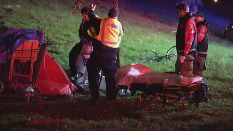 Homeless woman sleeping in tent injured by driver in Portland
