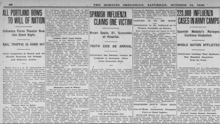 Century-old newspapers show 1918 flu pandemic hit Oregon hard