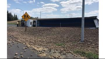 'No injuries, but potatoes everywhere': Cornelius Pass on-ramp to Highway 26 closed