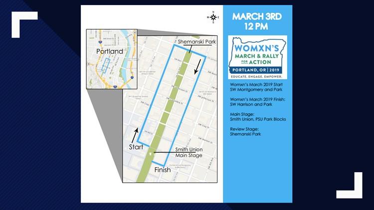 Map of 2019 Portland Womxn's March