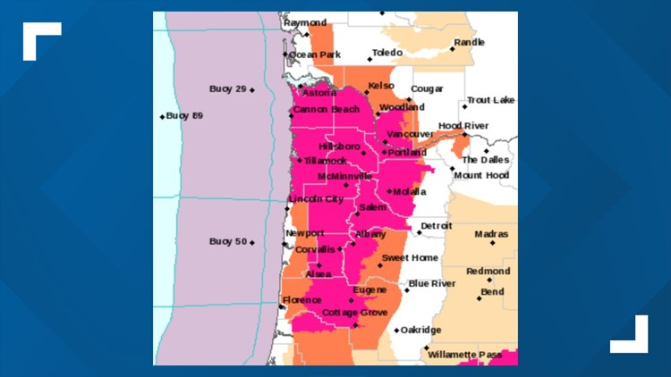 Red Flag Warning in effect through Tuesday evening (area in pink)