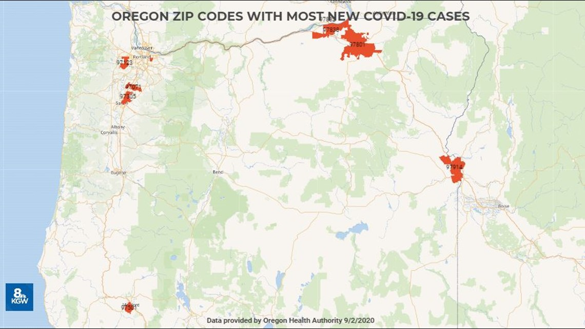 These 10 Zip Codes Have The Most New Covid Cases In Oregon Kgw Com Learn more about case numbers, population data, and maps. these 10 zip codes have the most new
