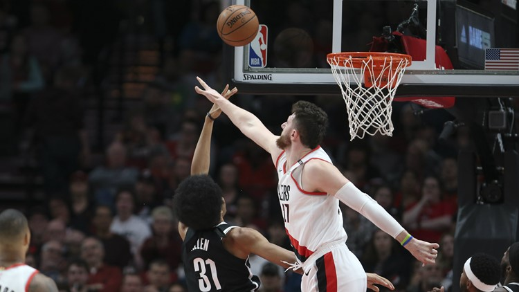 Jusuf Nurkic leaves game with serious leg injury during Blazers' double-overtime win over Brooklyn