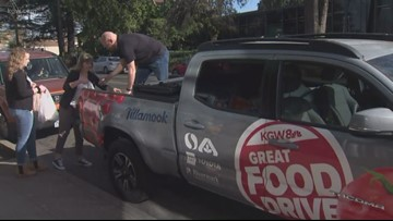 Loading up the KGW Great Food Drive truck