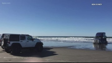 Beached semi-truck on the Oregon Coast