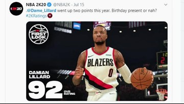 What are the Blazers' player ratings in NBA 2K20?