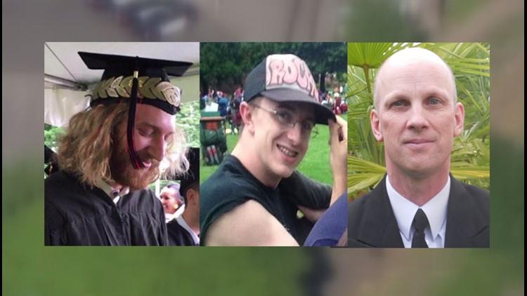Stabbing victims, from left: Taliesin Myrddin Namkai-Meche, Micah David-Cole Fletcher, and Rick John Best