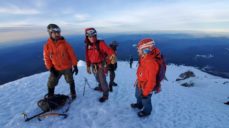Members with Portland Mountain Rescues on Mount Hood