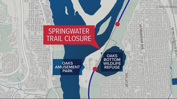 Map of Springwater Trail closure