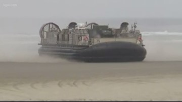Navy hovercrafts hold earthquake relief drill on Oregon coast