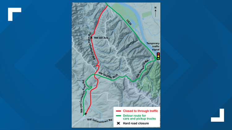 Map of Northwest Cornelius Pass road closure and detours