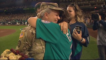 Wash. soldier surprises family at Safeco Field