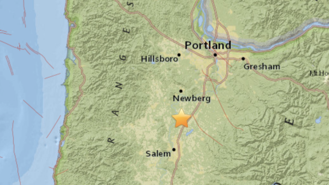 Small earthquake in Gervais, south of Woodburn